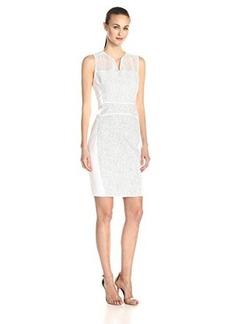 Elie Tahari Women's Anya Whitened Tweed Sheath Dress, Blue/White, 12