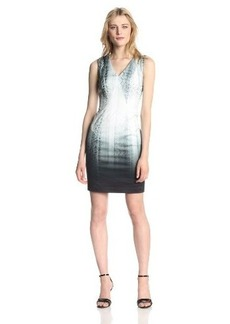 Elie Tahari Women's Arvis Python Spree Print Strap Sateen Sleeveless Dress