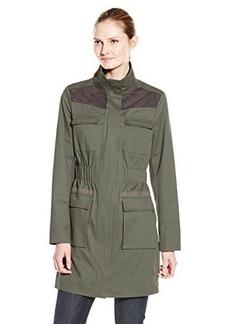 Elie Tahari Women's Avery Slim Safari Coat with Cinch Waist, Khaki, Medium