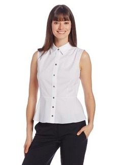 Elie Tahari Women's Beatrice Stretch Poplin Sleeveless Button-Down Blouse