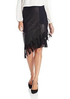 Elie Tahari Women's Claudette Fringed Suede Skirt, Black, 8