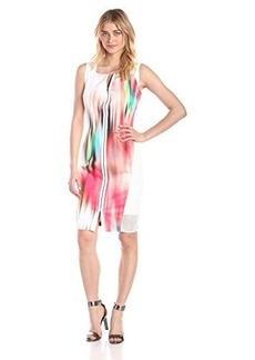Elie Tahari Women's Davis Color Blur Sheath Dress, White, 10