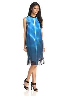 Elie Tahari Women's Deanna Silk Wave Print Sleeveless Shirtdress, Blue/Multi, X-Small