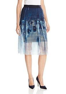 Elie Tahari Women's Dillan Printed Lasercut Neoprene Flared Skirt, Warrior, 2