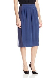Elie Tahari Women's Eloise Silk Pleated Colorblock Skirt