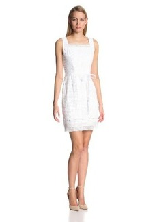 Elie Tahari Women's Erin Small Square Eyelet Sleeveless Dress