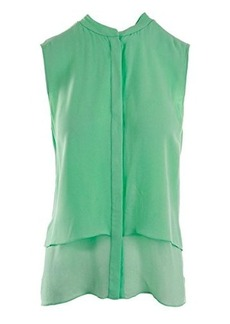 Elie Tahari Women's Eve Layered Silk Sleeveless Blouse, Chlorophyll, Medium