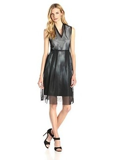 Elie Tahari Women's Hillary Oval Mesh Fit and Flare Dress