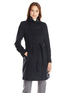 Elie Tahari Women's India Funnel Collar Military Coat