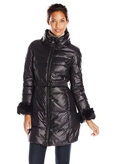 Elie Tahari Women's Ireland Belted Down Coat with Removable Faux-Fur Cuffs