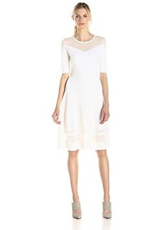 Elie Tahari Women's Jandra Silk Cotton Fit and Flare Sweater Dress