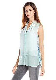 Elie Tahari Women's Jonie Etherial Print Silk Blouse, Seascape Multi, X-Large
