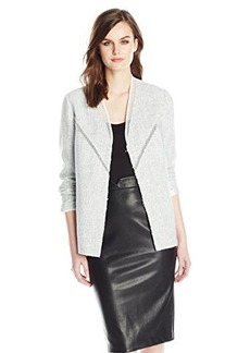 Elie Tahari Women's Leeann Whitened Tweed Long Jacket