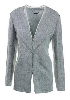 Elie Tahari Women's Leeann Whitened Tweed Long Jacket, Blue/White, Large
