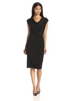 Elie Tahari Women's Linden Slinky Jersey Sheath Dress, Black, Medium