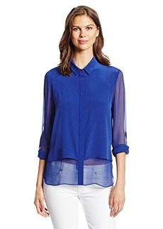 Elie Tahari Women's Loretta Silk Tab Sleeve Button Down Blouse