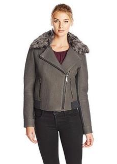 Elie Tahari Women's Mae Fur Trim Leather Moto Jacket