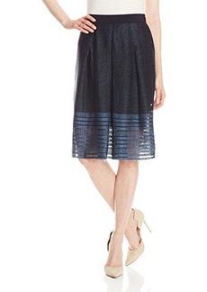 Elie Tahari Women's Mirella Engineered Stripe Flared Overlay Skirt, Blue, 2