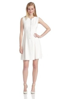 Elie Tahari Women's Nina Crepe Sleeveless Zip Front Fit and Flare Dress