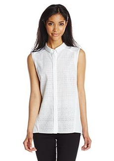 Elie Tahari Women's Reina Eyelet Sleevless Top