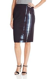 Elie Tahari Women's Reversible Cammie Stargate Print Pencil Skirt, Black, X-Small