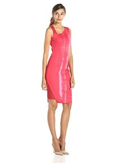 Elie Tahari Women's Reversible Herika Stargate Print Sheath Dress, Red Berry, 0