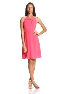 Elie Tahari Women's Rosario Colorblock Crepe Fit and Flare Dress