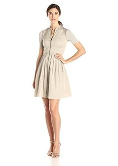 Elie Tahari Women's Rudy Cotton Poplin Shirt Dress, Sand, 8
