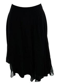 Elie Tahari Women's Sachi Silk Enzyme Wash Asymmetrical Skirt, Black, Small