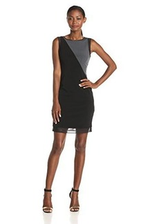Elie Tahari Women's Scarlette Luxe Crepe Colorblock Sleeveless Dress