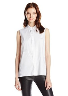 Elie Tahari Women's Shelby Cotton Poplin Sleeveless Button Down Shirt