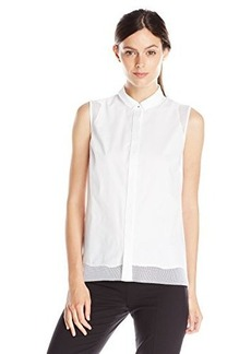 Elie Tahari Women's Shelby Poplin Sleeveless Button Down Shirt