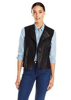Elie Tahari Women's Victoria Distressed Leather Moto Vest, Black, Large