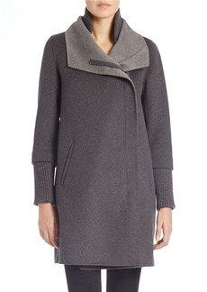 ELIE TAHARI Wool-Blend Double Collar Coat