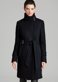 Elie Tahari Wool Trench - India Asymmetrical Belted