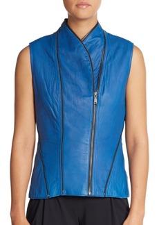 Elie Tahari Yasmine Washed Leather Vest
