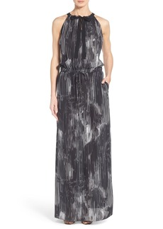 Elie Tahari 'York' Print Silk Tie Neck Blouson Maxi Dress