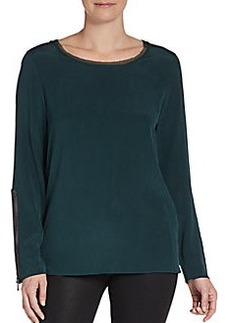 Elie Tahari Zip-Cuffed Silk Blouse