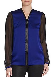Elie Tahari Zip-Front Silk Blouse