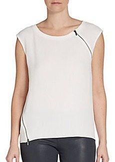 Elie Tahari Zip-Trimmed Top