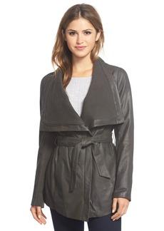 Elie Tahari'Isabelle' Asymmetrical Knit Trim Leather Wrap Jacket