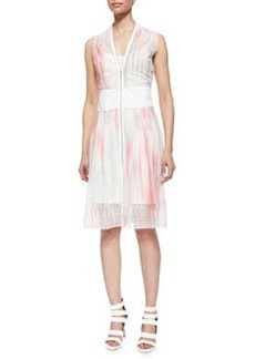 Emma Zip-Front Perforated Dress   Emma Zip-Front Perforated Dress