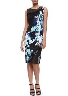 Emory Floral-Print Sheath Dress W/ Mesh   Emory Floral-Print Sheath Dress W/ Mesh