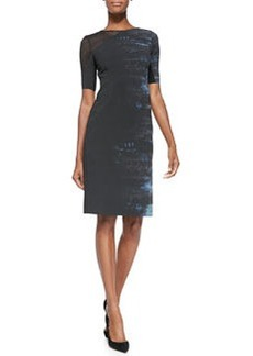Emory Half-Sleeve Dress W/ Mesh Shoulder   Emory Half-Sleeve Dress W/ Mesh Shoulder