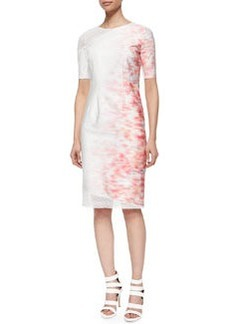 Emory Short-Sleeve Sheath Dress W/ Mesh Detail   Emory Short-Sleeve Sheath Dress W/ Mesh Detail