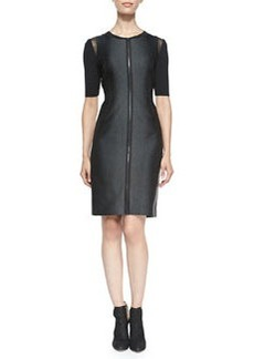Frankie Zip-Front Dress W/ Mesh Shoulders   Frankie Zip-Front Dress W/ Mesh Shoulders