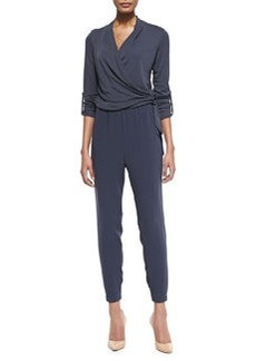Gally Crepe Wrap-Front Side-Tie Jumpsuit   Gally Crepe Wrap-Front Side-Tie Jumpsuit