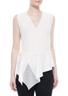 Glenna Sleeveless Peplum Blouse, White   Glenna Sleeveless Peplum Blouse, White