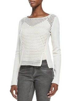 Jacqueline Mesh-Front Sweater   Jacqueline Mesh-Front Sweater