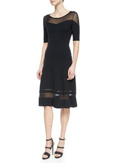 Jandra Mesh-Trim Sweaterdress, Black   Jandra Mesh-Trim Sweaterdress, Black